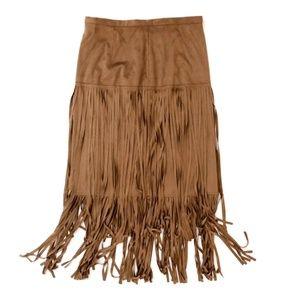 Chico's Women's Boho Suede Fringe Midi Maxi Skirt
